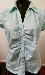 Light Aquamarine short sleeved buttons w ruching